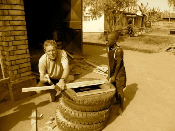 Dad & his helper Vianny hard at work