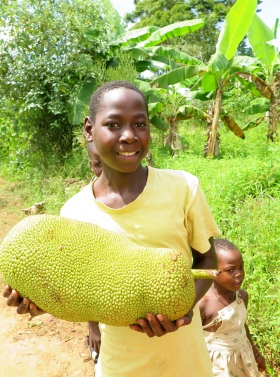 Marvin, in his second year of sponsorship, gifting us a jackfruit to say thank you