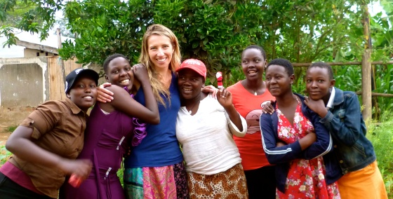 At KAASO in December 2013 with some of the girls from the Kiwi Sponsorships